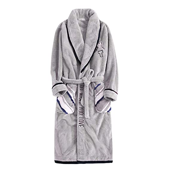 Hombre Casual Bata De Casa Coral Fleece Warm Manga Larga Batas De Dormir Ropa De Dormir Holiday Hotel Soft Cómodo Pijama Traje De Baño,Grey-XXL(bust126): ...