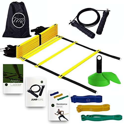 Speed Ladder Collection - MRProdux Speed and Agility Training Equipment Set with eBook Workout Guides | Ladder, Cones, Resistance Bands, Speed Rope | Footwork, Endurance, Explosiveness Training | Football, Soccer, Basketball