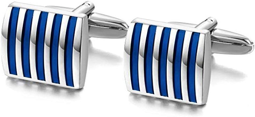 I Jewels - Gemelos para Camisa para Hombre, diseño con Texto en inglés, Color Azul y Plateado (CL02): Amazon.es: Joyería