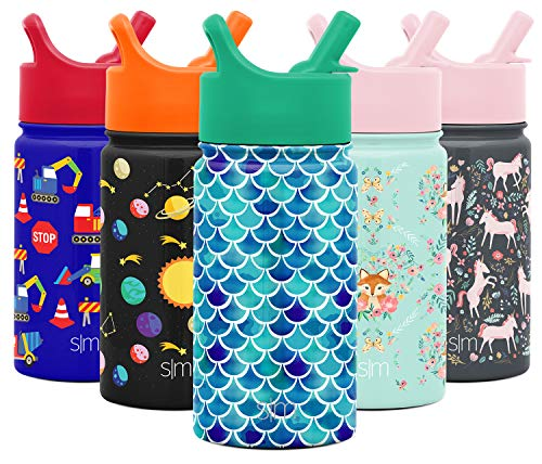Simple Modern 14oz Summit Kids Water Bottle Thermos with Straw Lid - Dishwasher Safe Vacuum Insulated Double Wall Tumbler Travel Cup 18/8 Stainless Steel -Mermaid