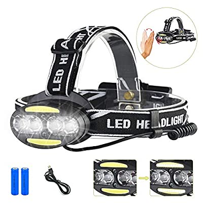 LED Headlamp Sensor USB Rechargeable Headlamp 5 Modes Headlamp Waterproof Headlight With 2PCS Rechargeable Batteries for Camping, Hiking, Dog Walking,Runners