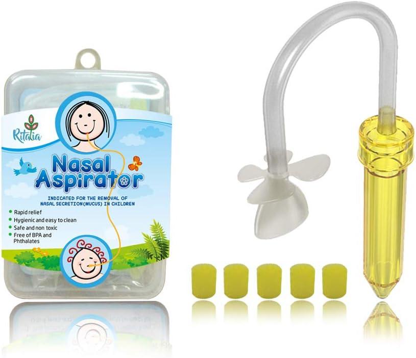 Ritalia aspirador nasal bebé con 5 filtros higiénicos. Para el alivio de la congestión nasal desde recién nacidos, bebés y niños pequeños. Rápido, no irritante, reutilizable y seguro.
