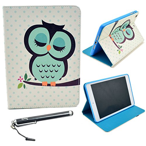 iPad Mini Case, iPad Mini 3 / iPad Mini Retina / iPad Mini Case, Speedtek OWL Pattern Premium PU Leather Folio Stand Protective Skin Case for Apple iPad Mini 3 (2014) & iPad Mini Retina (2013) & iPad Mini (2012) (Automatic Wake/Sleep Feature)