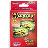 Stages Learning Materials Picture Memory Animal Card Real Photo Concentration Game, Red, Size 5 x 3