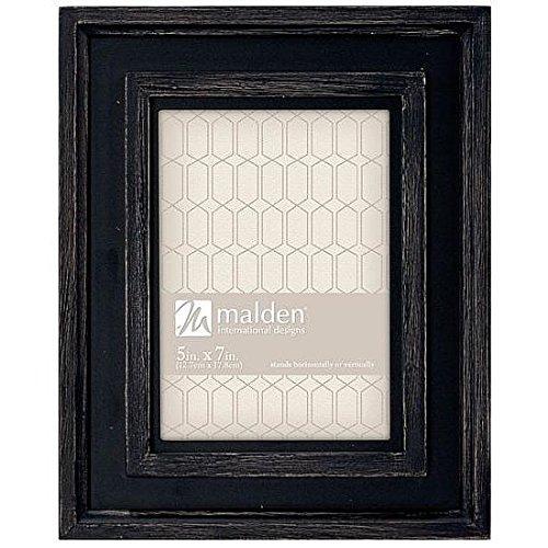 Malden International Designs Rustic Woods Hayward Ridge Scratch Rustic Black Dimensional Boarders Wood Picture Frame, 5x7, Brown