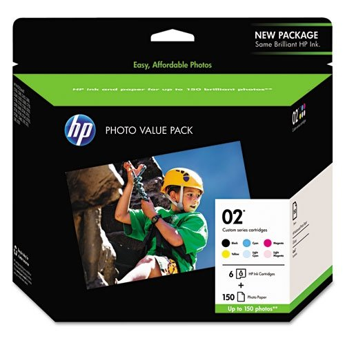 HP 02 | 6 Ink Cartridges with Photo Paper | Black, Cyan, Magenta, Yellow, Light Cyan, Light Magenta | Q7964AN (Hp Photosmart 150)