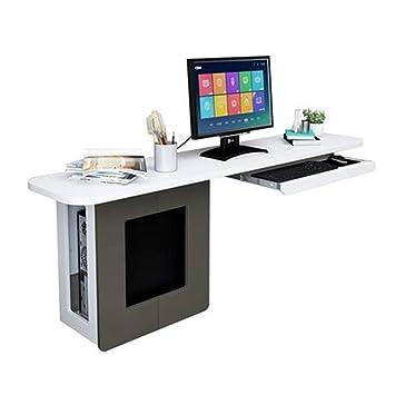 Deawecall Mesa de Madera pequeña Ordenador Escritorio PC portátil estación de Trabajo Deslizante Teclado Bandeja y Estante de Almacenamiento, Natural, ...