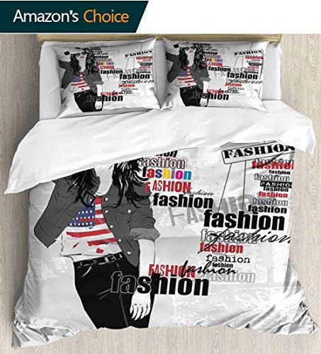 Girls Full/Queen Size Quilt Bedding Set,A Modern Teen Girl with USA Flag T-Shirt Fashion Obsession Beauty in The Street Kids Bedding - Double Brushed Microfiber 79