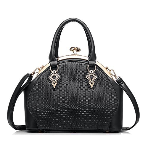 Women Handbag Purses PU Leather Tote Bag Kiss Lock Closure Office Shoulder Bag by Realer Black