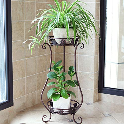 (HLJ Creative Wrought Iron Flower Stand Multi-Layer Indoor Flower Stand Living Room Balcony Floor Standing Plant Stand (Color : Bronze))