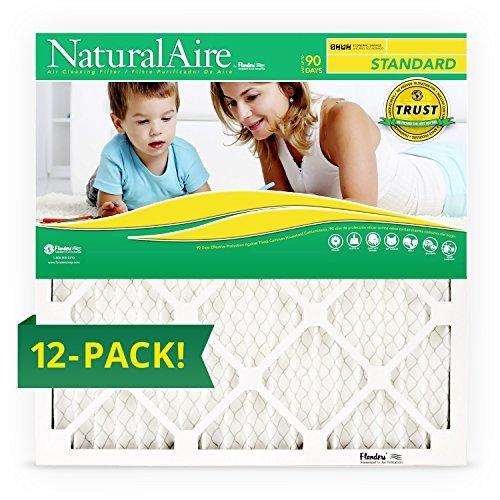 16 x 20 x 1, Naturalaire Standard Merv 8 Pleated Air Furnace Filter, Box of 12 Filters by NaturalAire by NaturalAire