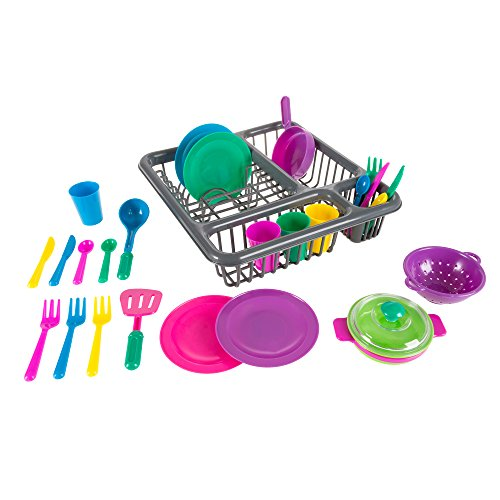 Hey!Play! Kids Play Dish Set, 27 Piece Tableware Dish Set with Dish Drainer - for Kitchen Playset and Pretend Food, Toys ()