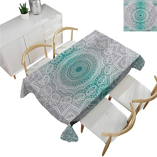 familytaste Grey and Teal,Thanksgiving Tablecloth,Mandala Ombre Sacred Geometry Occult Pattern with Flower Lines Display Artwork,Printed Tablecloth 70