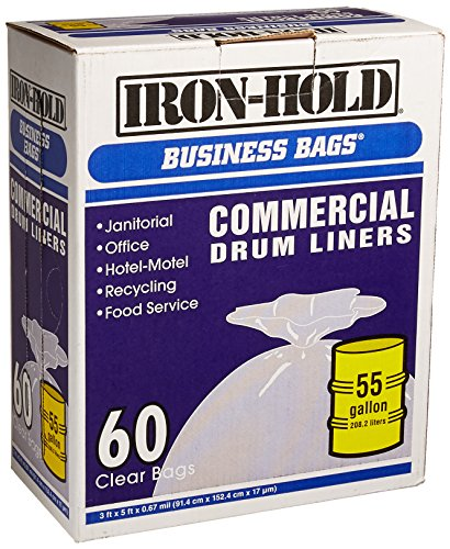 iron-hold business bags commercial drum liners 60 ct 55 gallon -