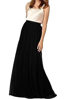 67f1b057a4 Omelas Womens Long Floor Length Tulle Skirt High Waisted Maxi Tutu Party  Dress