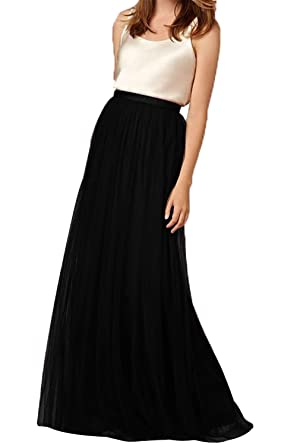 539033601 Omelas Womens Long Floor Length Tulle Skirt High Waisted Maxi Tutu Party  Dress (Black,