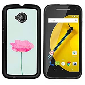 YiPhone /// Prima de resorte delgada de la cubierta del caso de Shell Armor - amapola primavera flor rosa verde de la primavera - Motorola Moto E2 E2nd Gen