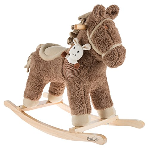 Childs Natural Wood Rocking Horse - Hey!Play! 80-BC6-069 Rocking Horse Ride-on Toy, Light Beige