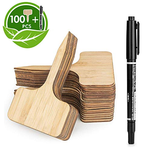 HOMENOTE 100pcs Bamboo Plant Labels (6 x 10 cm) with Bonus a Pen Vegetable Garden Markers T-Type Plant Tags for Plants