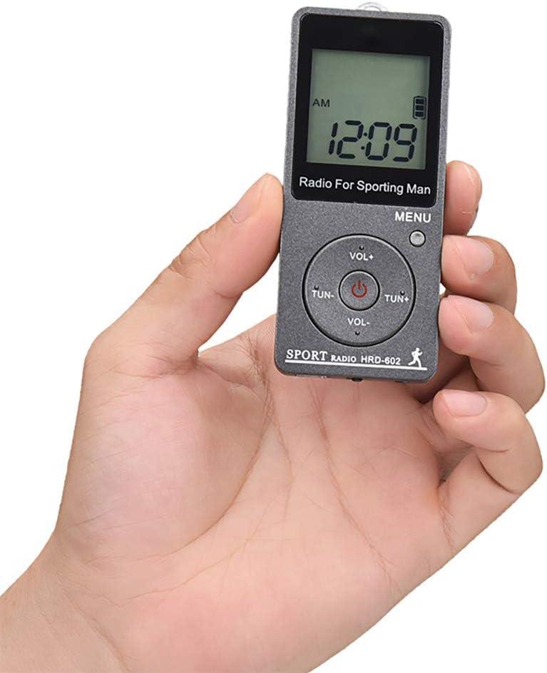 PopHMN Radio Deportiva port/átil Mini Receptor Radio de conteo de Pasos Radio FM Am con Pantalla LCD para Auriculares Negro