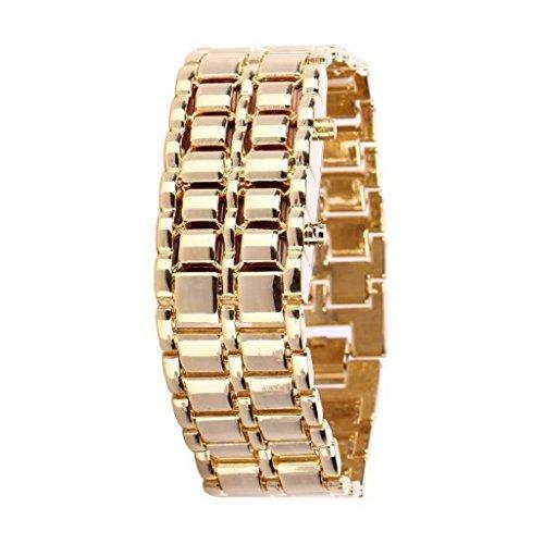 Soleasy@ 8-LED Blue Light Digit Stainless Steel Bracelet Wrist Watch Gold WTH0353