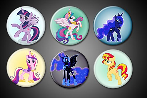 Pony Magnet (My Little Pony Magnets EXPANDED Pack Princess Celestia, Cadence, Princess Twilight Sparkle, Luna, Nightmare Moon, Sunset Shimmer for fridge lockers magnet boards whiteboards)