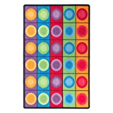 Flagship Carpets FE118-44A Dot Spots Seating Rug, Everyone Has a Spot on This Colorful Design, 7'6'' x 12' Seats 30, 90'' Length, 144'' Width, Multi-Color