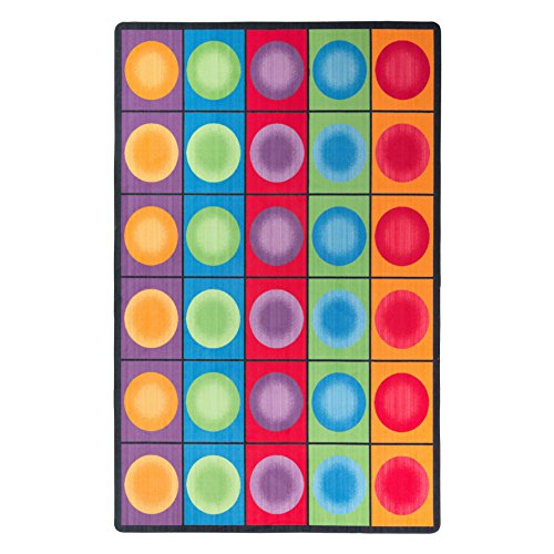 Flagship Carpets FE118-44A Dot Spots Seating Rug, Everyone Has a Spot on This Colorful Design, 7'6