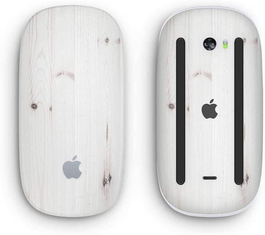 White Vertical Wood Planks with Multi-Touch Surface Design Skinz Premium Vinyl Decal for The Apple Magic Mouse 2 Wireless, Rechargable