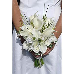 Elegant Ivory Calla Lily Rose & Freesia Bridal Wedding Bouquet