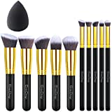 EmaxDesign Makeup Brushes 10+1 Pieces Makeup Brush Set, 10 Pieces Professional Foundation Blending Blush Eye Face Liquid Powder Cream Cosmetics Brushes & 1 Piece Black Beauty Sponge Blender With Bag