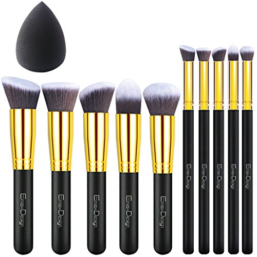 Emaxdesign Makeup Brushes 10 1 Pieces Makeup Brush Set  10 Pieces Professional Foundation Blending Blush Eye Face Liquid Powder Cream Cosmetics Brushes   1 Piece Black Beauty Sponge Blender With Bag