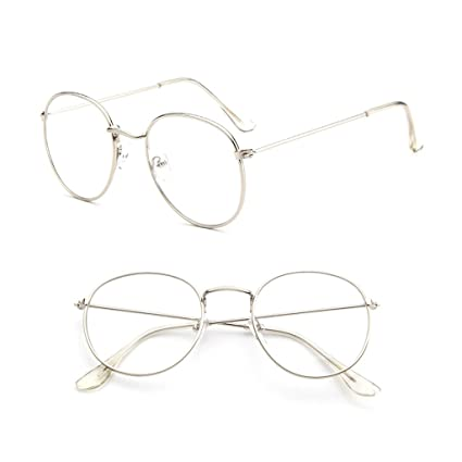 dc779f64b254 Image Unavailable. Image not available for. Color: SimpleLif Vintage Men  Women Eyeglass Metal Frame Glasses Round Spectacles Clear ...