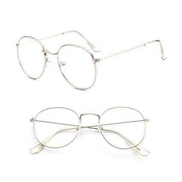 4ddf4a96e8 Image Unavailable. Image not available for. Color  Misright Vintage Men  Women Eyeglass Metal Frame Glasses Round Spectacles Clear Lens Optical ...