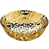 Alessi''Joy n11'' Round Basket in 18/10 Stainless Steel And Hand Gold Plating in 24 Carat Gold, Gold