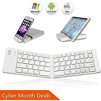 Bluetooth Folding Keyboard, IKOS Ultra Slim Pocket Size Foldable Keyboard For iOS / Android / Windows, iPad Mini, iPad Pro, iPhone, Smartphones, Windows, Smart TV, Tablets, With Rechargable Battery