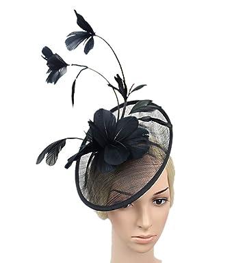 YSJOY Luxury Sinamay Feather Flower Fascinators Derby Hat British Bowler  Hat Wedding Cocktail Party Church Kentucky bd7d5612ba1