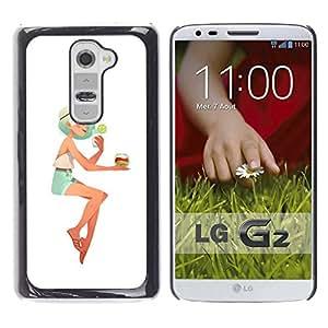 Shell-Star Arte & diseño plástico duro Fundas Cover Cubre Hard Case Cover para LG G2 / D800 / D802 / D802TA / D803 / VS980 / LS980 ( Girl Blonde Woman Beach Cocktail Shorts )