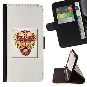 Momo Phone Case / Flip Funda de Cuero Case Cover - Perro psicodélico;;;;;;;; - HTC One M7