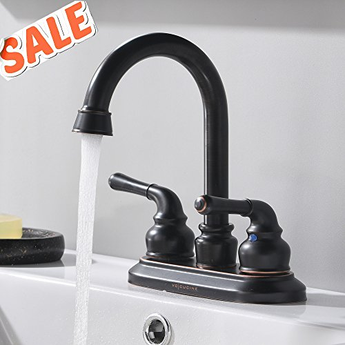 VCCUCINE Best Commercial Contemporary Oil Rubbed Bronze Two Handles Vanity Vessel Sink Bathroom Faucet, Without Included Pop Up Drain and Hot & Cold Water Hose