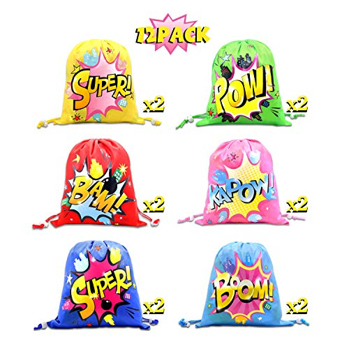 - CiyvoLyeen Superhero Drawstring Bags Party Favors Bags (12 Pack), Personalised Birthday Fabric Party Goodie Bag Gift for Kids Boys & Girls