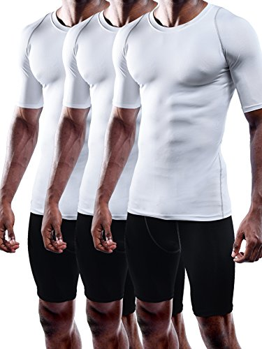Neleus Men's 3 Pack Dry Fit Sport Compression Shirt,801,White,US L,EU XL by Neleus