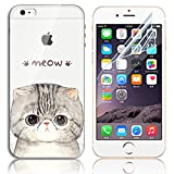iPhone 6 Case,iPhone 6S Cases, Sunroyal Soft TPU Clear Silicone Gel Shock Proof Soft Durable Scratch Resistant Rubber Transparent Beautiful Colourful Pattern Design Protective Case Cover Skin Shell for iPhone 6 6S 4.7 inch + Free Screen Protector - Meo