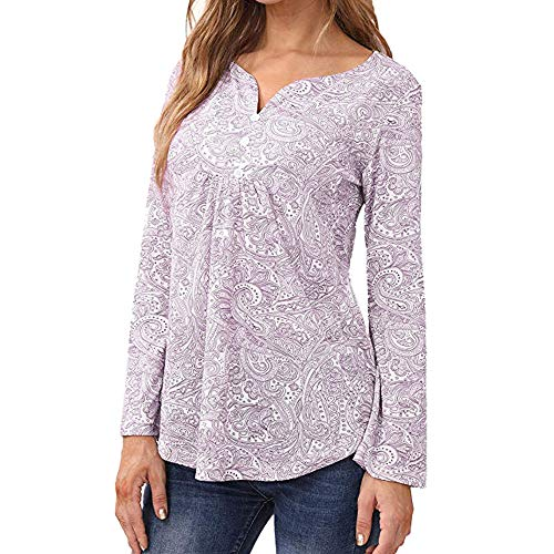 Aniywn Women Plus Size Folk Top Blouse Baggy Long Sleeve Pullover Button T-Shirt Pink ()