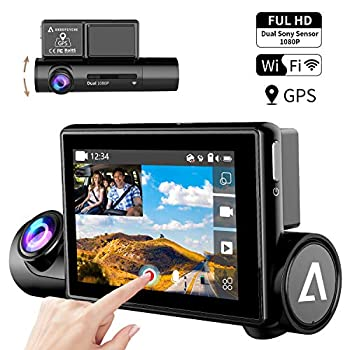 "Image of Dash Cam 3.0"" OLED Touch Screen Dual 1080P FHD Front and Inside Dash Camera for Cars-WiFi GPS Car Driving Recorder with Sony Night Vision Sensor 170° Wide Angle WDR G-Sensor Anoopsyche"