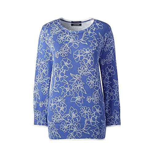 Lands' End Women's Supima 3/4 Sleeve Print Sweater, S, French Periwinkle Floral