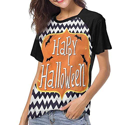 Women's Short Sleeve Shirts,Halloween,Doodle Style Chevron Bats S-XXL Women O Neck Casual T Shirt