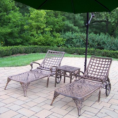 Oakland Living Elite Cast Aluminum 2 Chaise Lounges with 18-Inch Side Table and 10-Feet Green Cantilever Umbrella ()