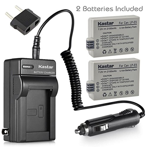 Kastar LP-E5 Battery (2-Pack) and Charger Kit for LPE5, LC-E5E and Canon EOS 450D, 500D, 1000D, Kiss F, Kiss X2, Kiss X3, Rebel XS, Rebel XSi, Rebel T1i Digital Cameras