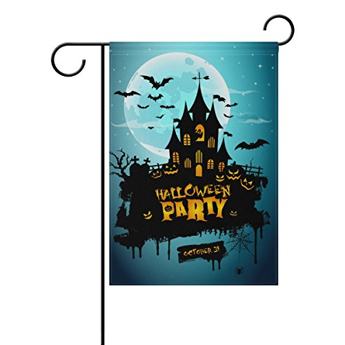 U LIFE Decorative Happy Halloween Party Castle Garden Yard Flag Banner for Outside House Flower Pot Double Side Print 40 x 28 & 12 x 18 Inch (Halloween Party November 1)